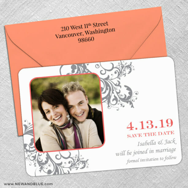 Flourish 5 Save The Date With Optional Color Envelope2