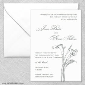Allure Calla Lily 2 Invitation And Envelope