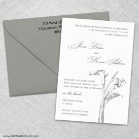 Allure Calla Lily 3 Invitation And Color Envelope