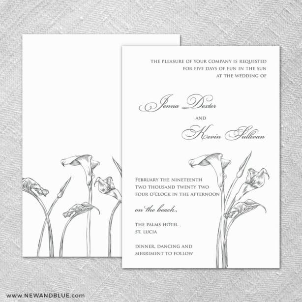 Allure Calla Lily 4 Invitation Shown With Back Printing