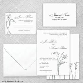 Allure Calla Lily 5 Wedding Invitation And Rsvp Card
