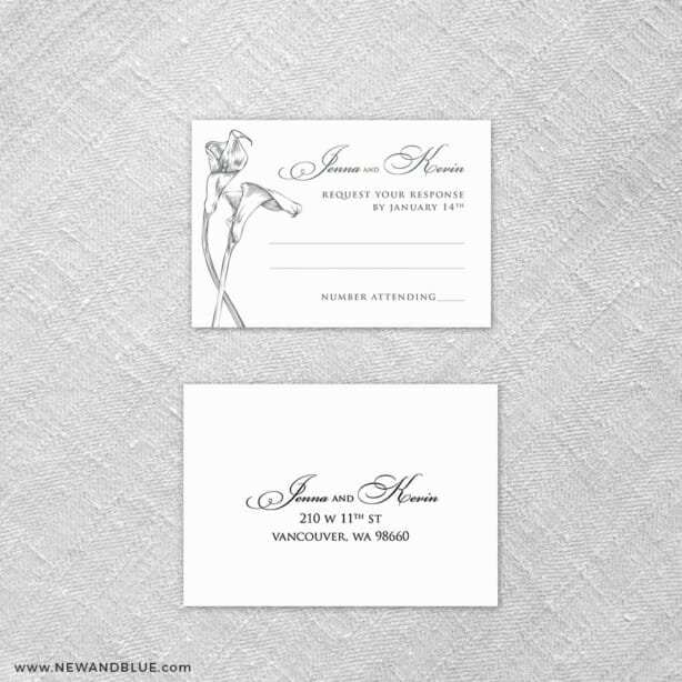 Allure Calla Lily 6 Reception Card And Rsvp Card