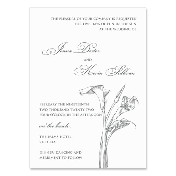 Allure Calla Lily Invitation Shown In Color Gray