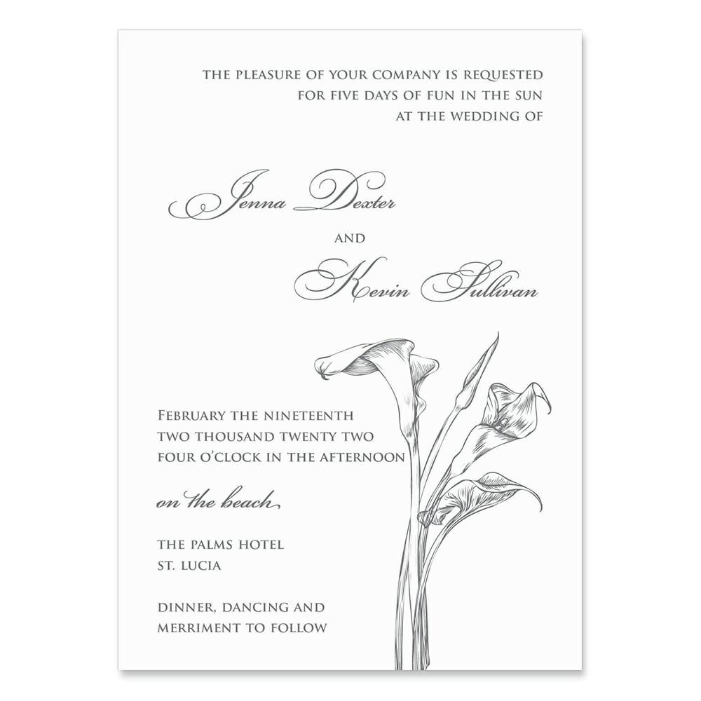 Allure Calla Lily Invitation Shown In Color Gray