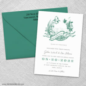 Aloha 3 Invitation And Color Envelope