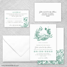 Aloha 5 Wedding Invitation And Rsvp Card