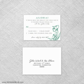 Aloha 6 Reception Card And Rsvp Card