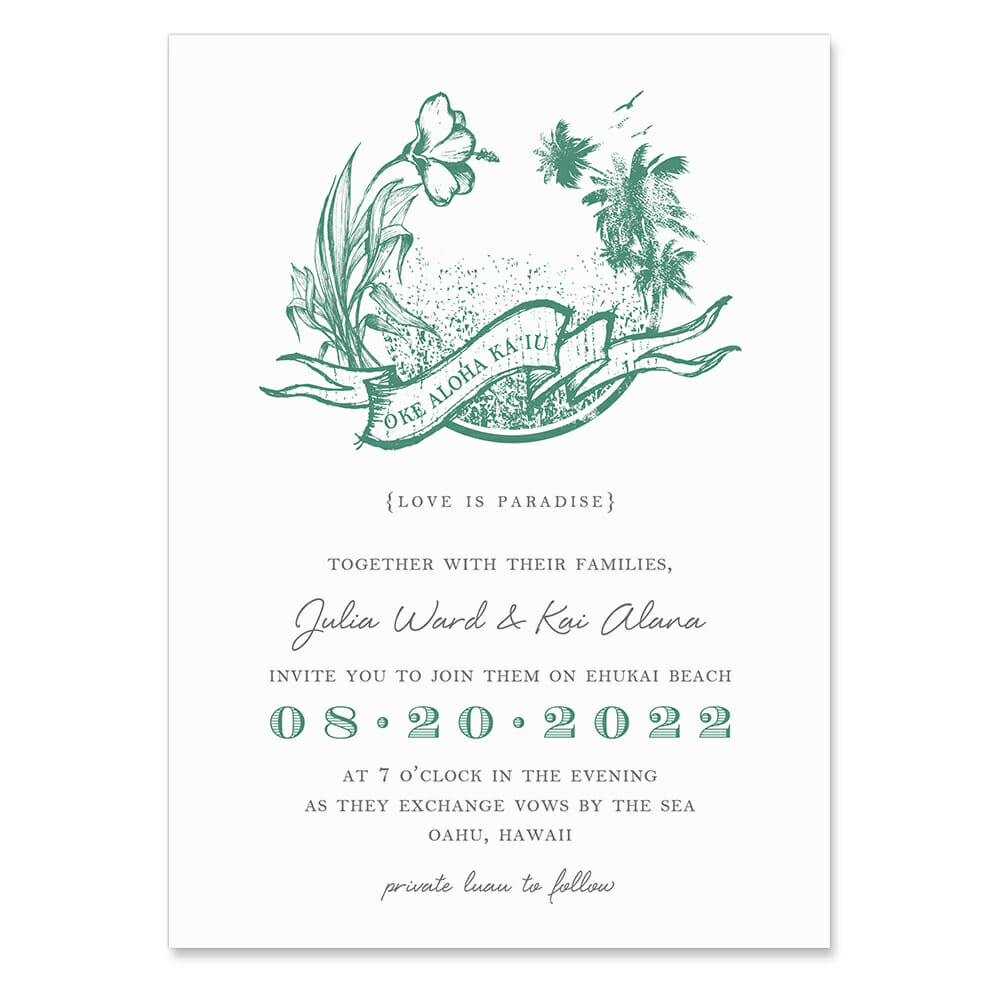 Aloha Invitation Shown In Color Teal