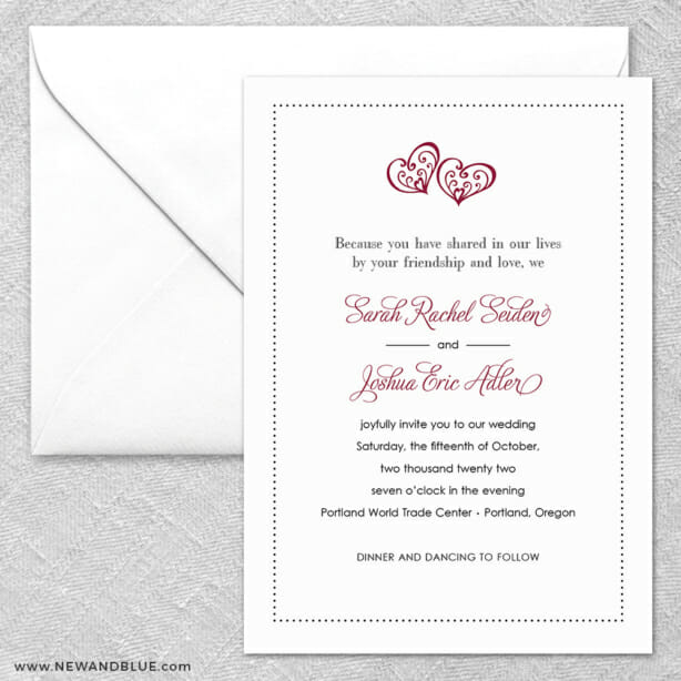 Amour 2 Invitation And Envelope