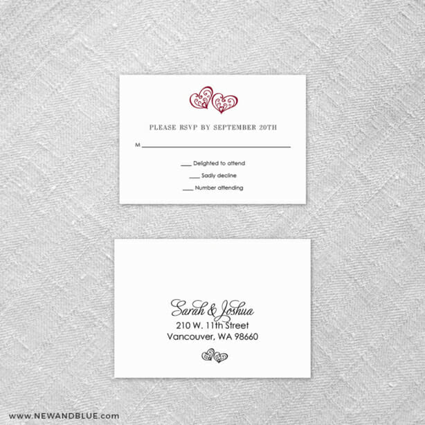 Amour 6 Reception Card And Rsvp Card