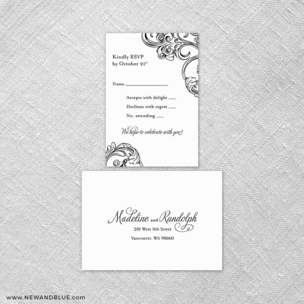 Amsterdam 6 Reception Card And Rsvp Card