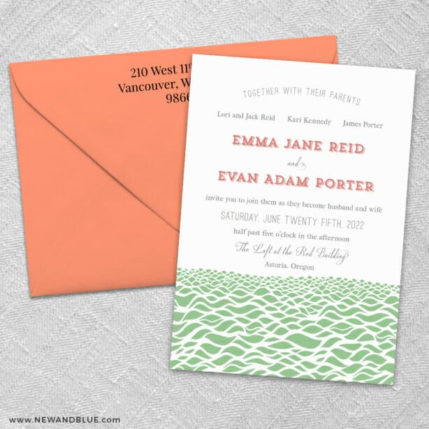Astoria 3 Invitation And Color Envelope