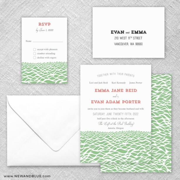 Astoria 5 Wedding Invitation And Rsvp Card