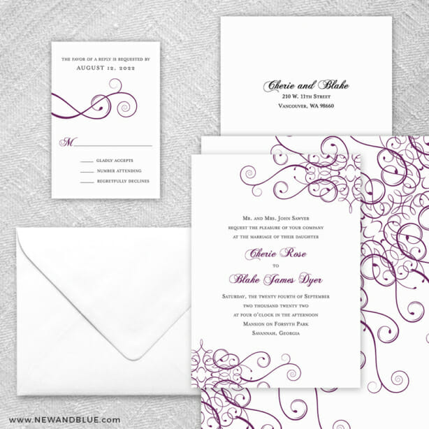 Ballroom 5 Wedding Invitation And Rsvp Card