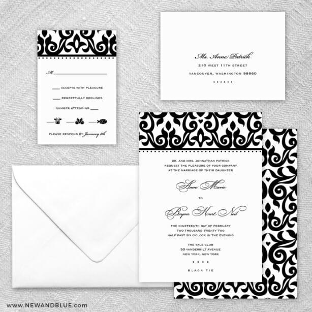 Barcelona 5 Wedding Invitation And Rsvp Card