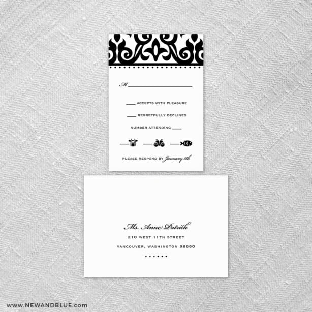 Barcelona 6 Reception Card And Rsvp Card