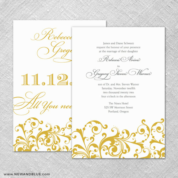 Bellini 4 Invitation Shown With Back Printing