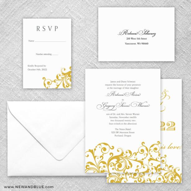 Bellini 5 Wedding Invitation And Rsvp Card