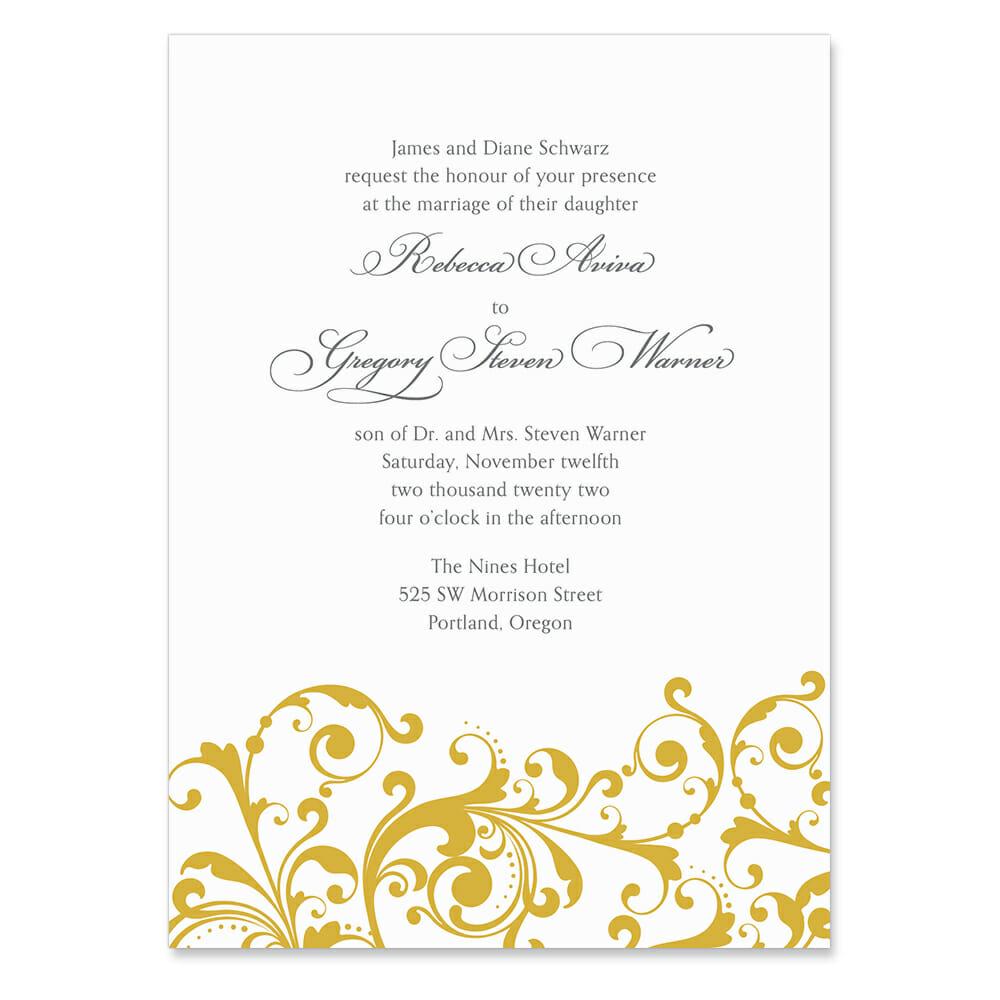 Bellini Invitation Shown In Color Gold