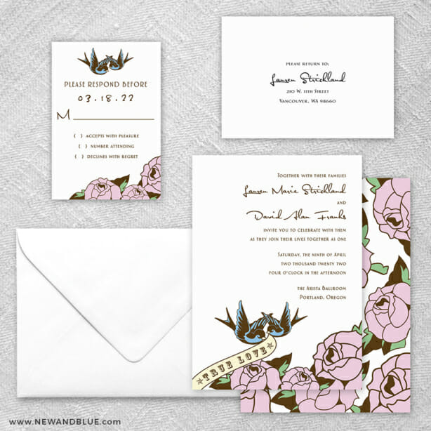 Bettie 5 Wedding Invitation And Rsvp Card