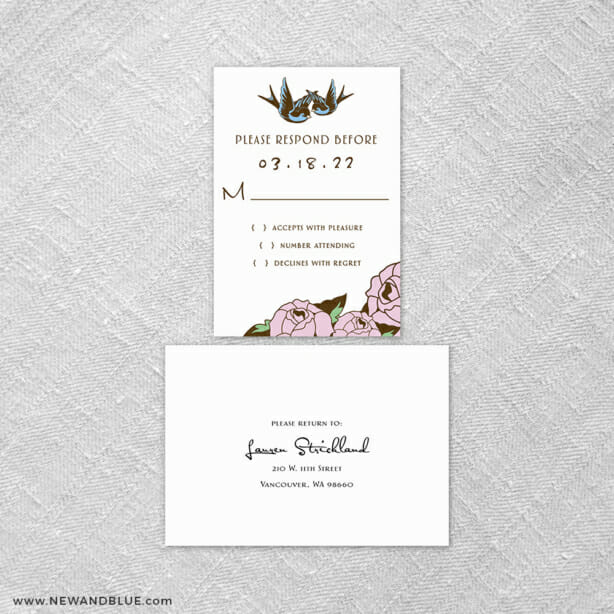 Bettie 6 Reception Card And Rsvp Card