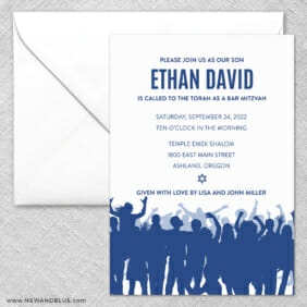 Big Celebration Bar Mitzvah 2 Invitation And Envelope