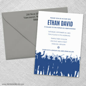 Big Celebration Bar Mitzvah 3 Invitation And Color Envelope