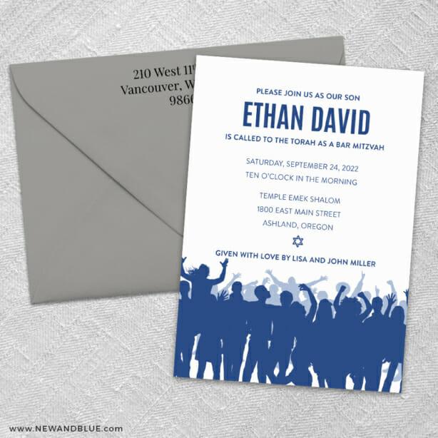 Big Celebration Bar Mitzvah 3 Invitation And Color Envelope