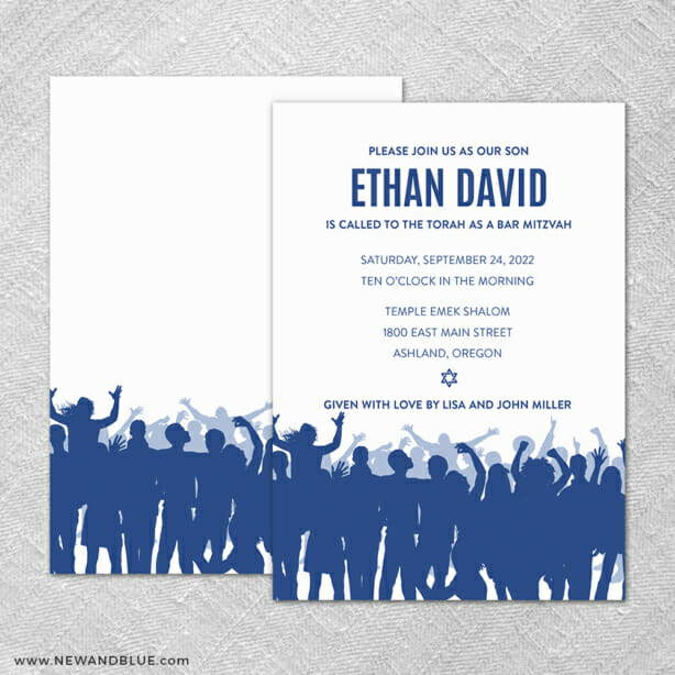 Big Celebration Bar Mitzvah 4 Invitation Shown With Back Printing