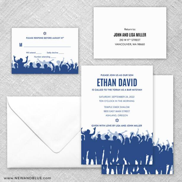 Big Celebration Bar Mitzvah 5 Wedding Invitation And Rsvp Card