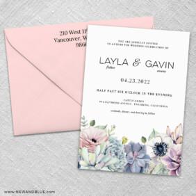 Botanical 3 Invitation And Color Envelope
