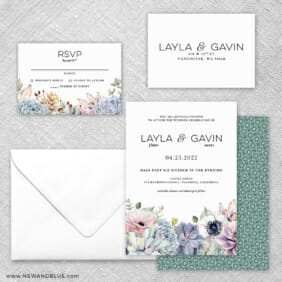 Botanical 5 Wedding Invitation And Rsvp Card