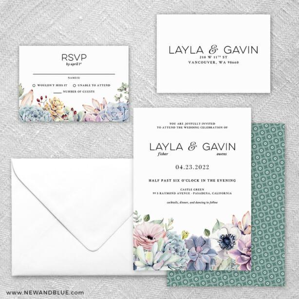 Botanical 5 Wedding Invitation And Rsvp Card