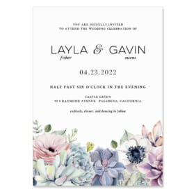 Botanical Invitation Shown In Color Black