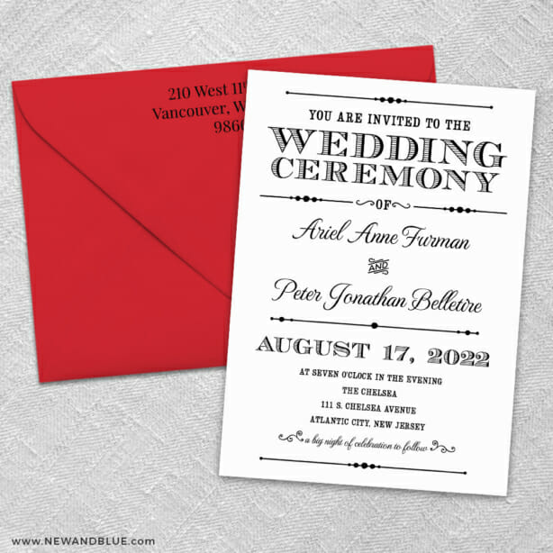 Calliope 3 Invitation And Color Envelope