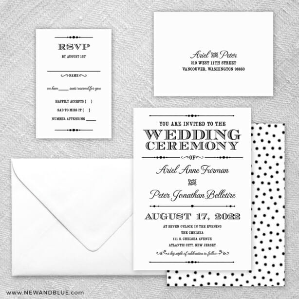 Calliope 5 Wedding Invitation And Rsvp Card