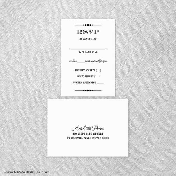 Calliope 6 Reception Card And Rsvp Card
