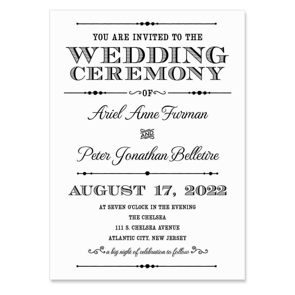 Calliope Invitation Shown In Color Black