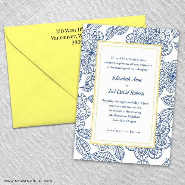 Charlotte 3 Invitation And Color Envelope