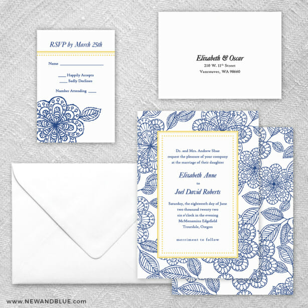 Charlotte 5 Wedding Invitation And Rsvp Card