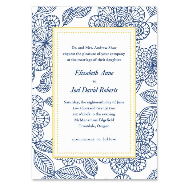Charlotte Invitation Shown In Color Blue