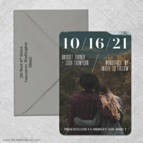 Simply Modern 3 Save The Date With Optional Color Envelope
