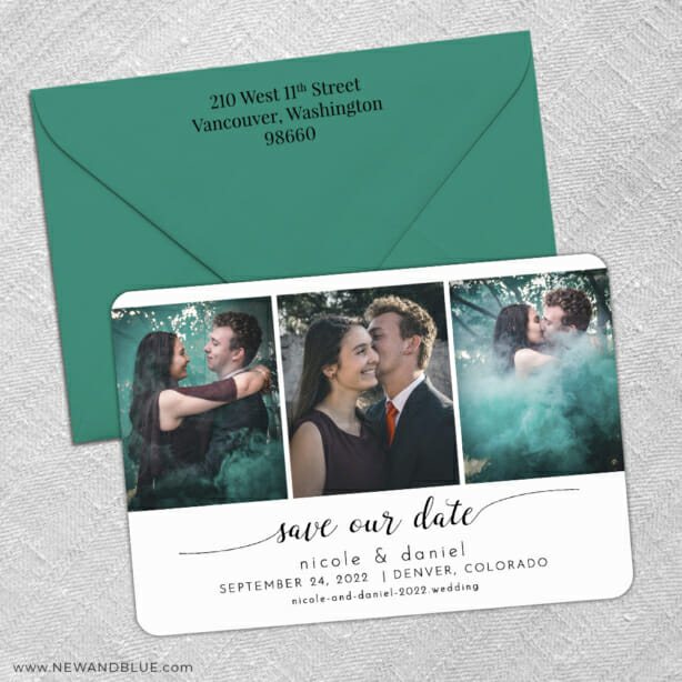 Triptych Of Love 3 Save The Date With Optional Color Envelope