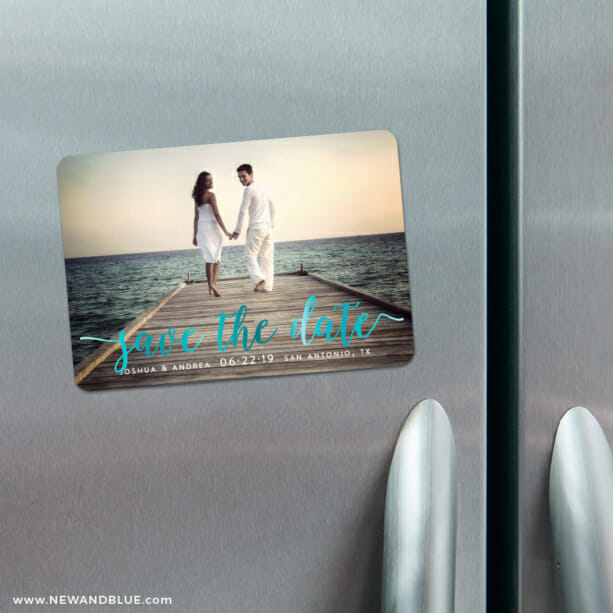 Handwriting 3 Refrigerator Save The Date Foil Magnets