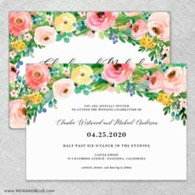 Bright Blooms Wedding Invitation With Back Printing