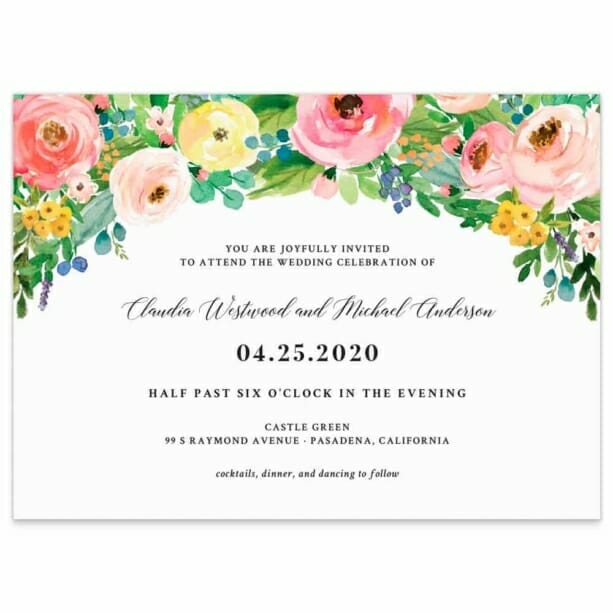 Bright Blooms Wedding Invitation Pink