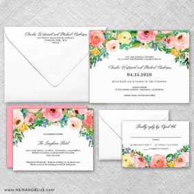 Bright Blooms Wedding Invitation And Rsvp Fb
