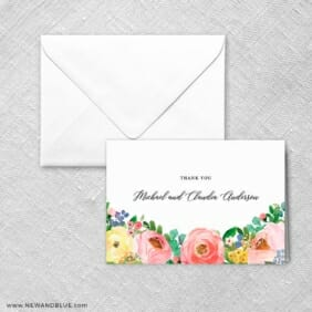 Bright Blooms Thank You Card And Envelope