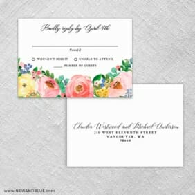 Bright Blooms Rsvp Card And Envelope