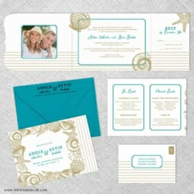On The Beach All Inclusive Invitation Shown With Optional Color Envelope